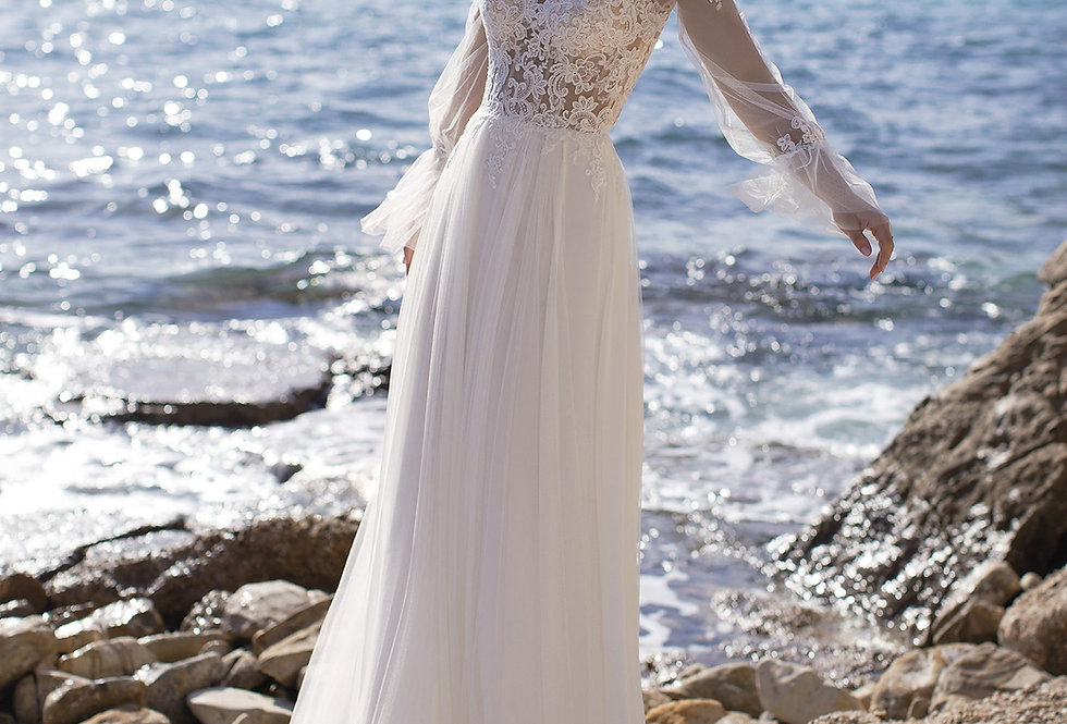 White One Periwinkle Wedding Gown