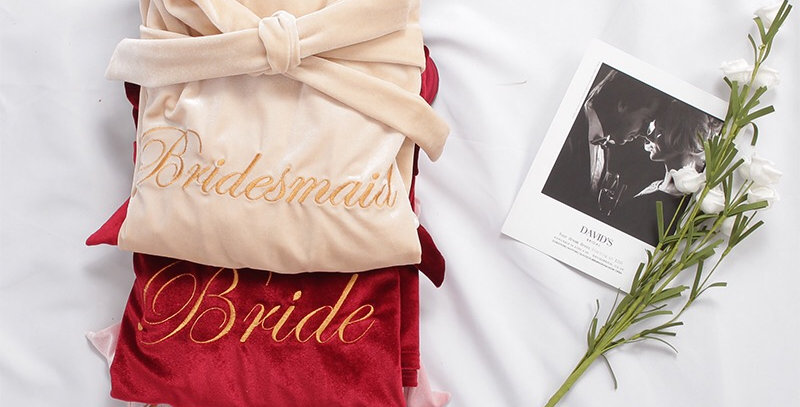 Custom Bridal Embroidered Bath Robe