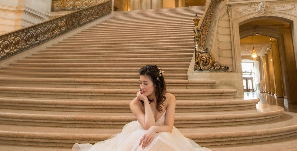 Ivory Pink Fairy Wedding Dress