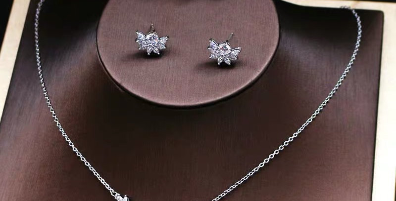 Bridal Necklace, Crown and Earring Set