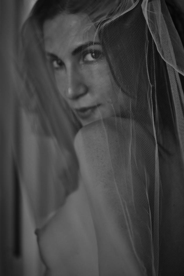 Portrait Behind a Curtain