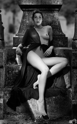 Nude on Tombstone Steps
