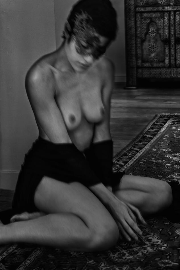 Masked Nude on Floor
