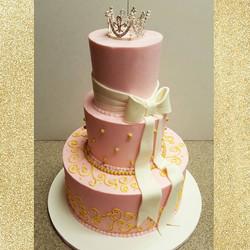Pink and Gold Princess Cake