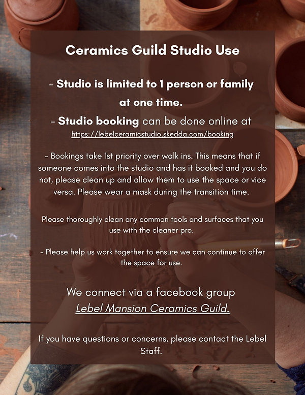 Ceramics Guild Studio Use - Studio is li