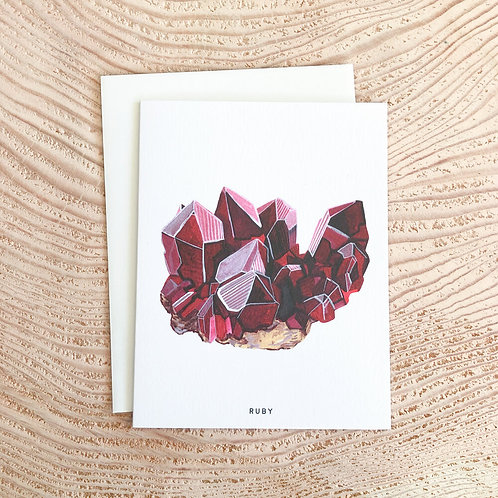 Ruby July Birthstone Card by Scout Paper