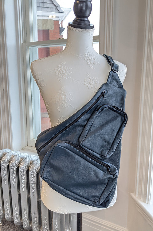 Large Blue Triangle Bag by Janet Costa the Leathersmith