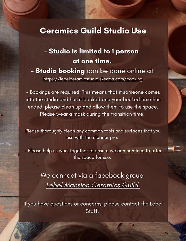 Ceramics Guild Studio Use - Studio is li