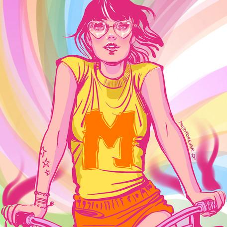'Bike Girl' - Tee-shirt design.