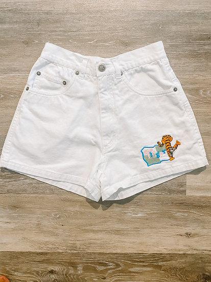 White Denim Tigger Shorts