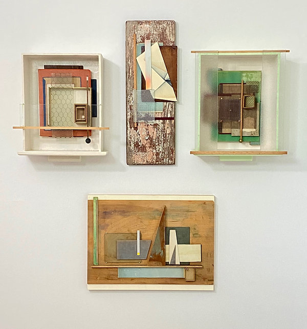 Collection of 4 Assemblages on Gallery Wall