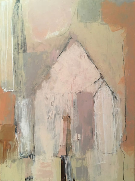 """Barrio Rustica Casa Series """"Casa Sola"""" Contemporary Abstract Painting on Wood Canvas, Impasto, Pinks, Terra Cotta, Taupes and Gray Colors 2019"""