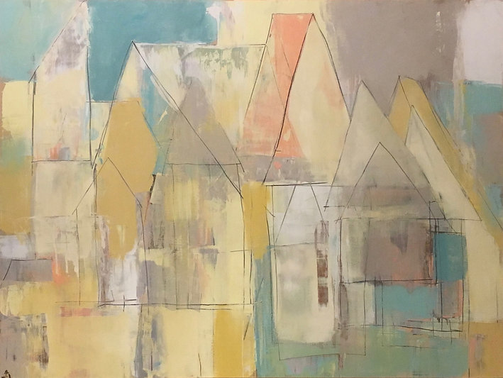 """Barrio Rustico Casa Series """"Casa Amarillas"""" Contemporary Abstract Painting, Rustic in nature, Aqua, Terra Cotta, Taupes, Gold and Yellows 2019"""