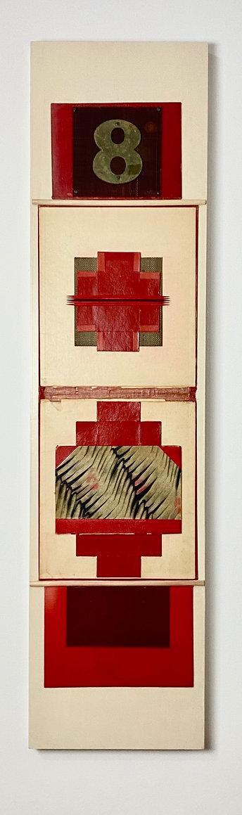 """Found Object Totem Style Assemblage in Reds, Vintage Red Book Cover, Rusted Metal Screen, Brass Number 8, Dissambled Red Cardboard Boxes, Red and Black """"Pick Up Sticks"""", Marbelized Painted Book Cover and Wood Dowels"""