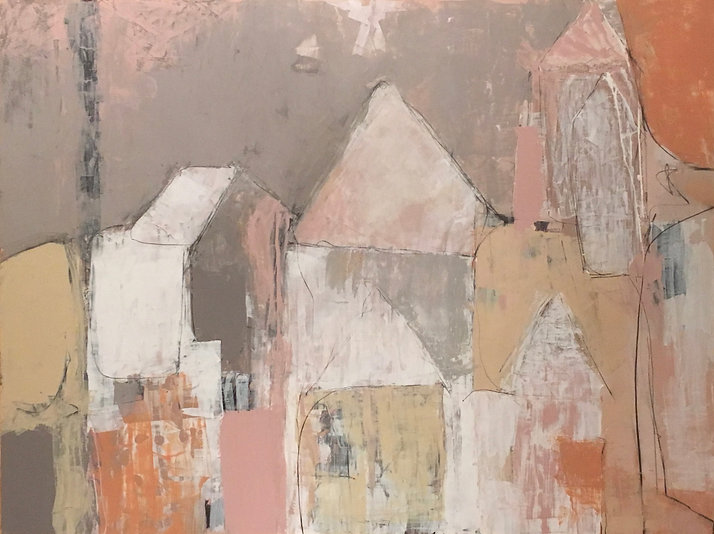 """Barrio Rustico Casa Series """"Barrio Rustico"""" Contemporary Abstract Painting, Impasto, Pinks, Terra Cotta, Taupes and Gray Colors"""