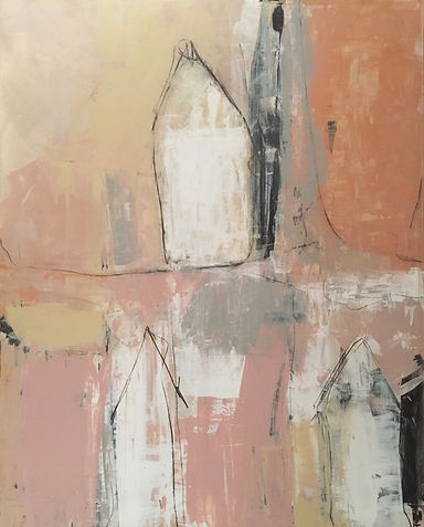 """Barrio Rustico Casa Series """"Tres Casas"""" Contemporary Abstract Painting with Terra Cotta, Pinks, Grays and White Tones 2019"""