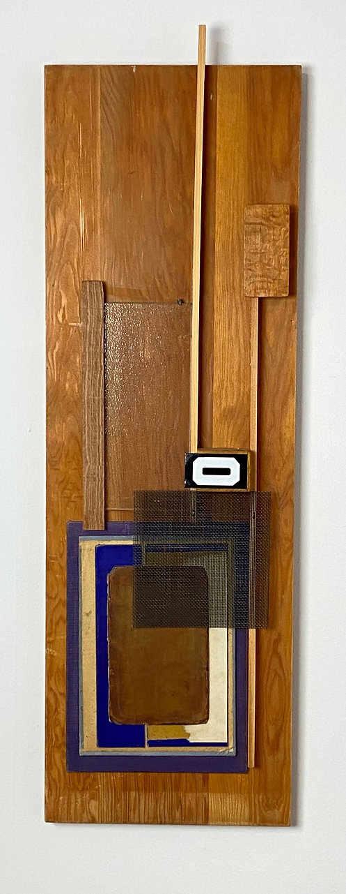 Found Object Assemblage with Wood, Wood Pieces, Black Screen, Metal Number 0, Blue Book Cover, Glass