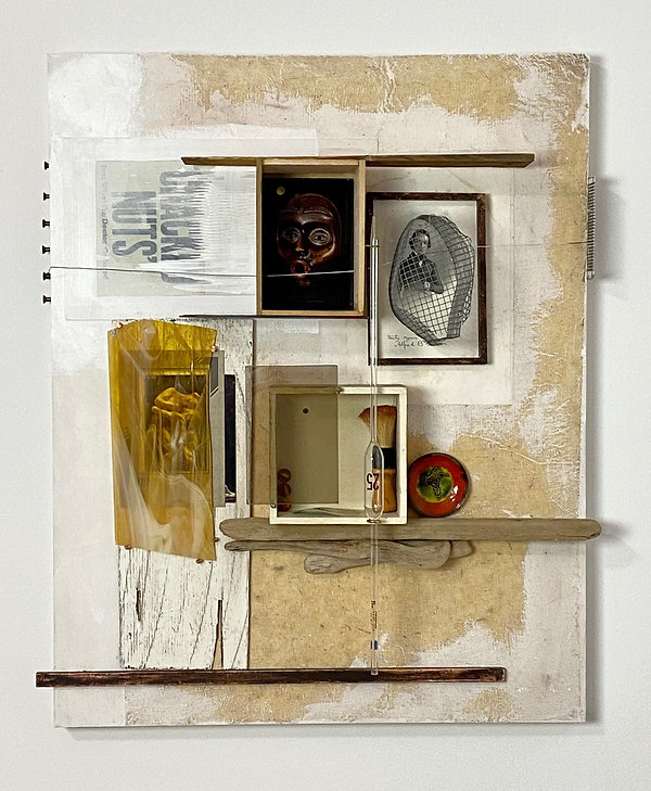 Found Object and Photo Imagery, Black and White Man's Portrait, Driftwood, Small Metal Plate, Wood Box with Marbles and Wood Shaving Tool, Figuarative Image with Amber Glass Shard, Wire Cage over Man's Image and Wire Secured by a Wood Hair Brush