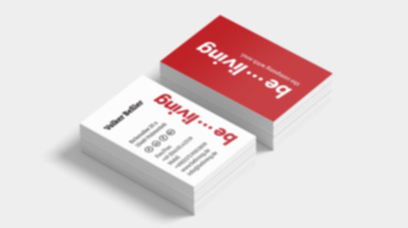 be...living, businesscards, design