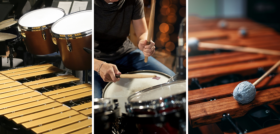 Three images, left to right: marimba and drums, drumset with a drummer, zoomed in image of vibraphone