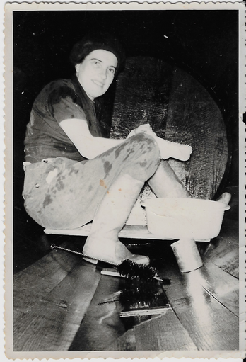 Therese, the Julien's Grand-ma inside the 250L cask to hand clean.