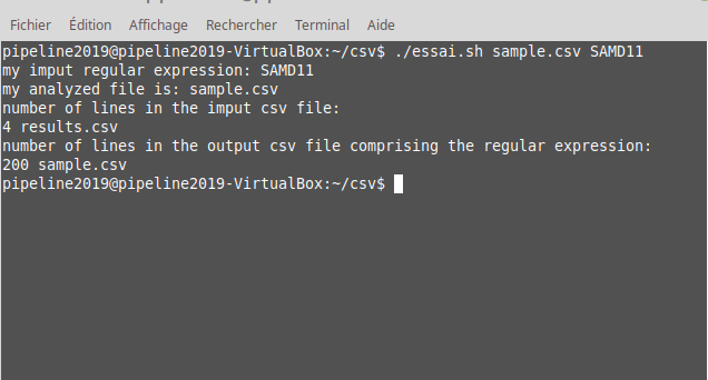 parse csv file to select lines with expression regular as parameter