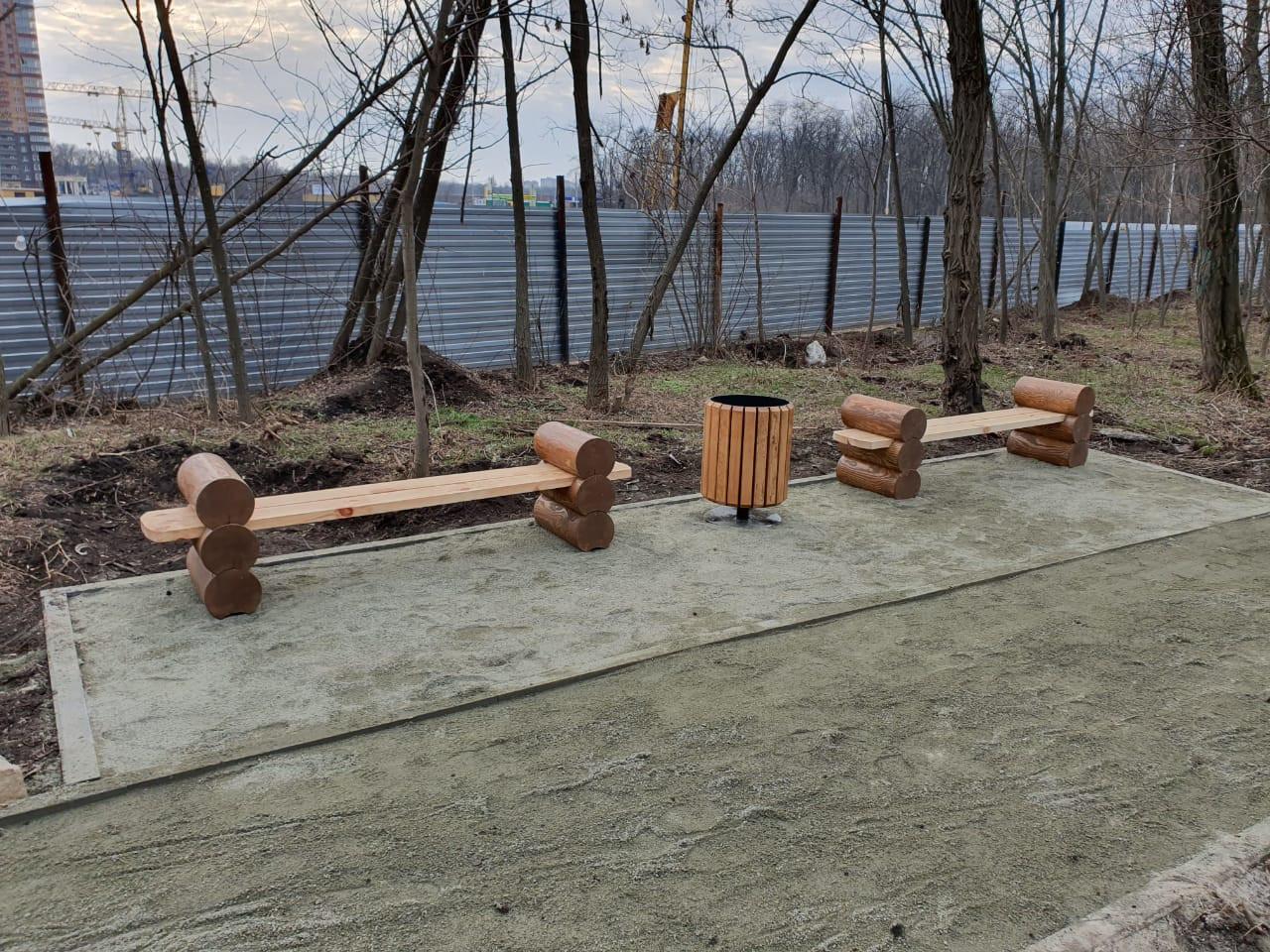 Скамейка деревянная из сруба Охта