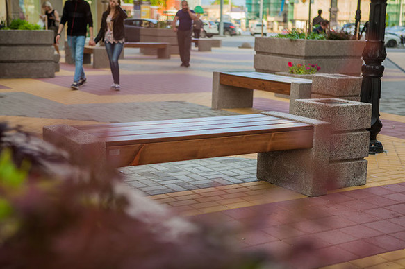 Скамейка без спинки бетонная