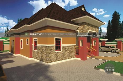 3 Bedroom Bungalow Building plan in Nigeria (Porharcourt)