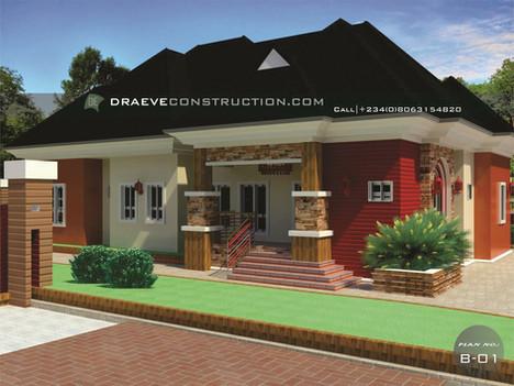 4 Bedroom Bungalow House Plan in Nigeria (Akwa Ibom)