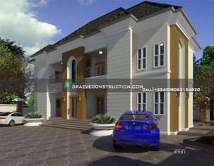 4 units of 1 Bedroom Flats Nigerian houseplan design