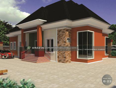 4 Bedroom Bungalow House Plan in Nigeria (Owerri)