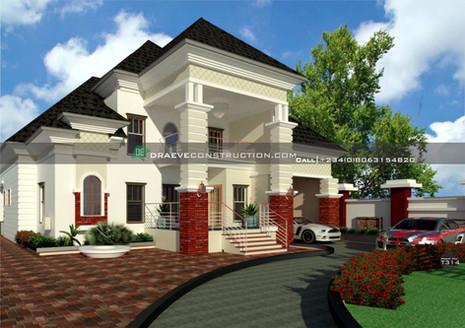 4 bedroom penthouse design with car garage | Nigerian Houseplan Designs