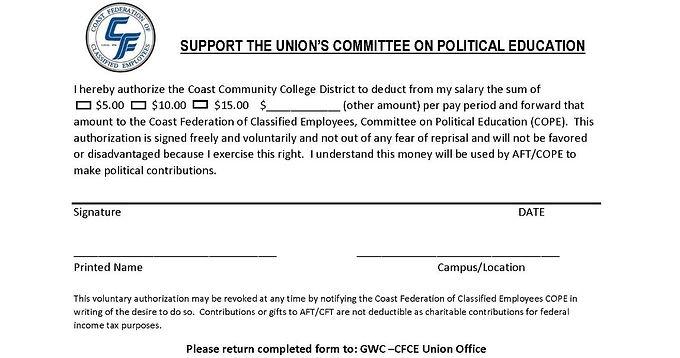 CFCE COPE Authorization Form