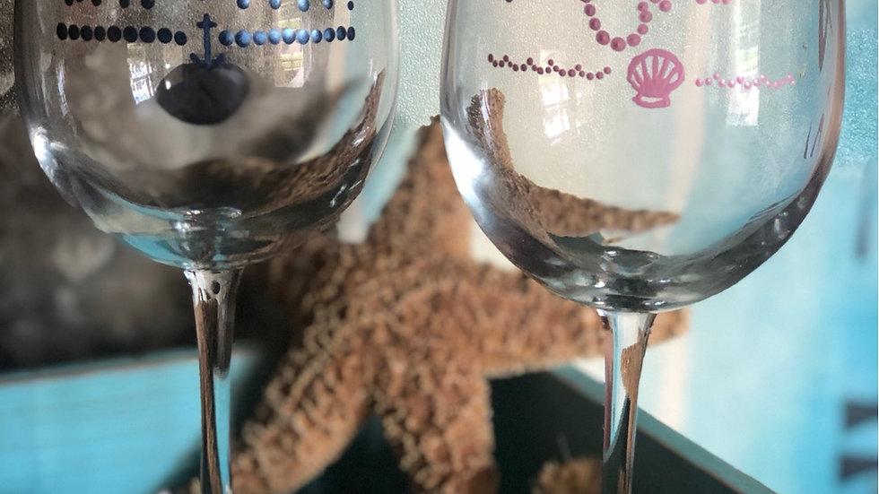 Captain & Mermaid Stem Wineglass