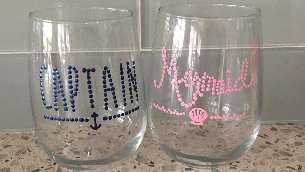 Captain & Mermaid Stemless Wineglass
