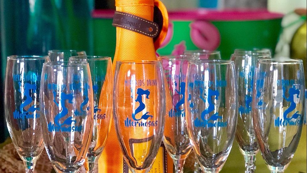 """Mermaids Drink Mermosas"" Champagne Flutes"