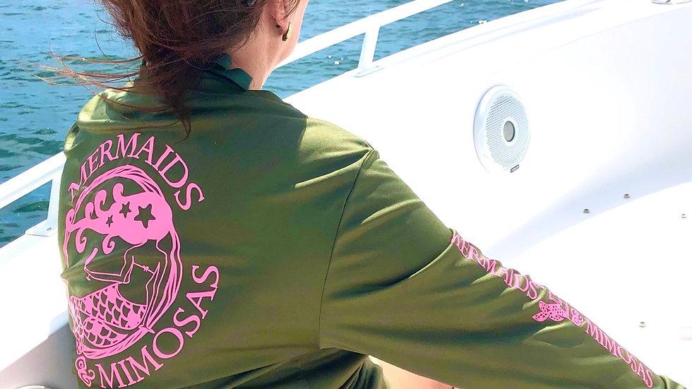 Marine Corp Green w/Pink Crew Neck Sun Shirt