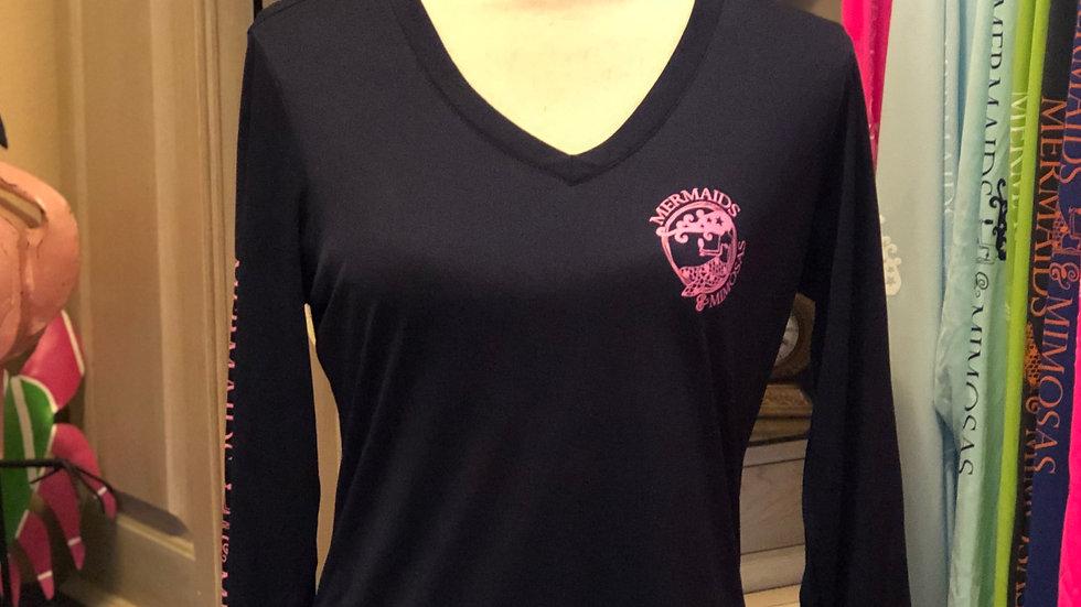 Navy Blue w/Pink VNeck Sun Shirt