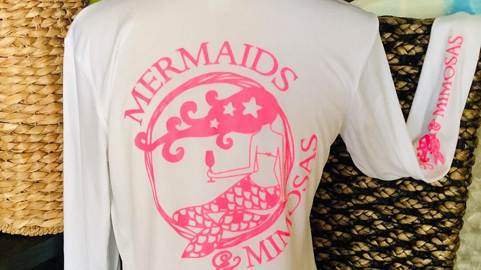 White w/Pink VNeck Sun Shirt