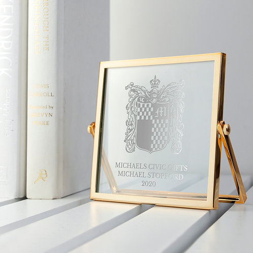 Engraved Glass in Gold Frame