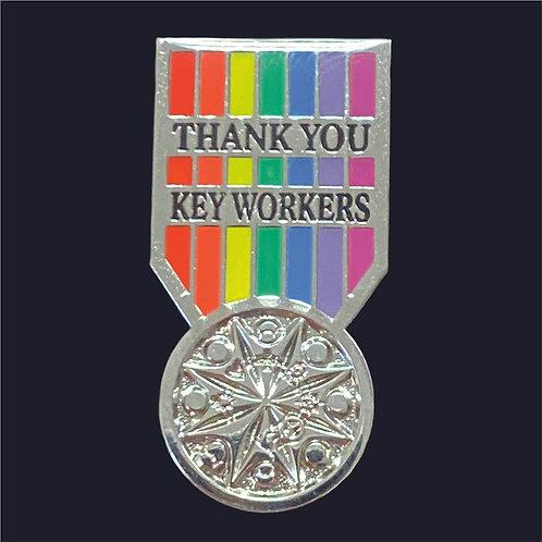 Key Worker Medal Pin Badge - Nickel Plating