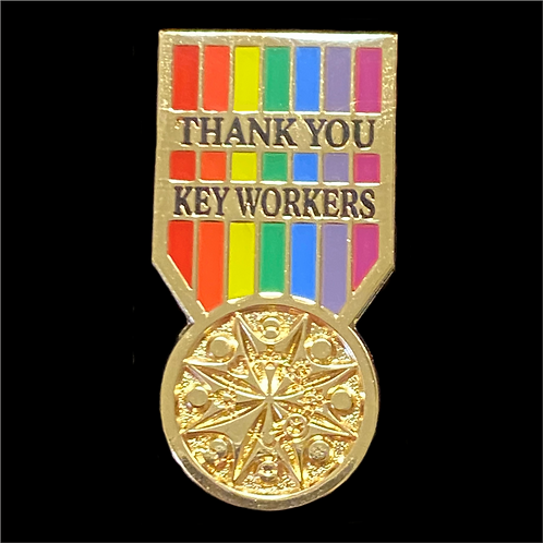 Key Worker Medal Pin Badge - Gold Plating