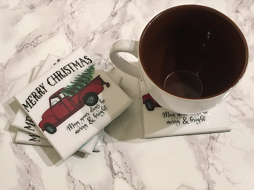 Christmas Red Truck Coasters