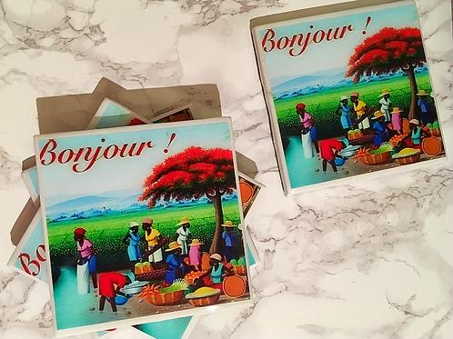 Bonjour! Coasters Set