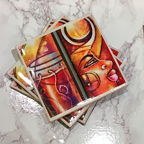 Woman and Drum Coasters Set