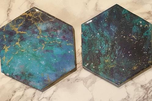 Galaxy and Gold Hexagonal Coasters