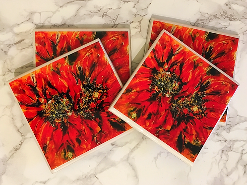 Red and Gold Coasters Set