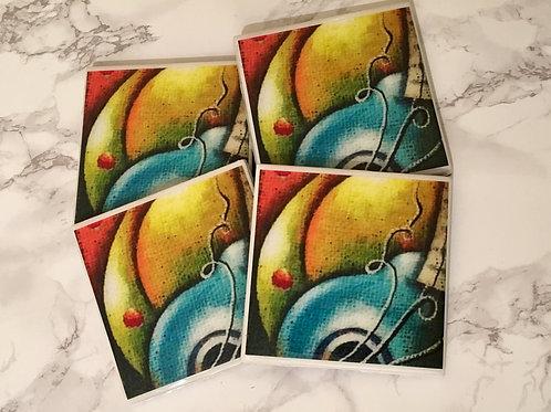 Blue Pear Coasters Set