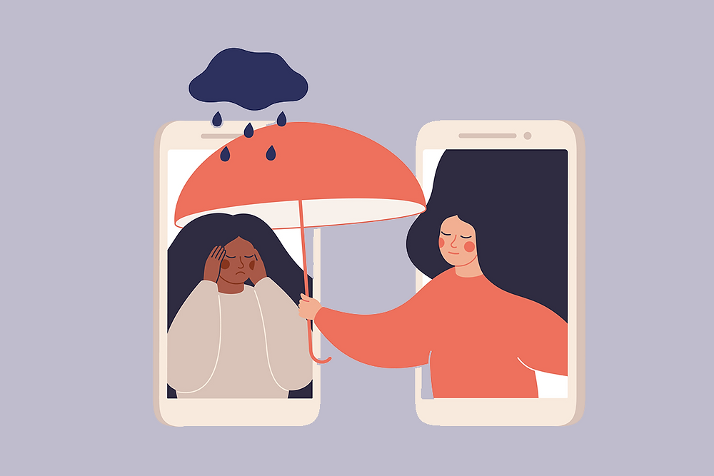 Two phones containing images of two girls. The girl on the left is in distress with a cloud and rain above her head. The girl on the right is shielding her from the rain by holding an umbrella over her head.